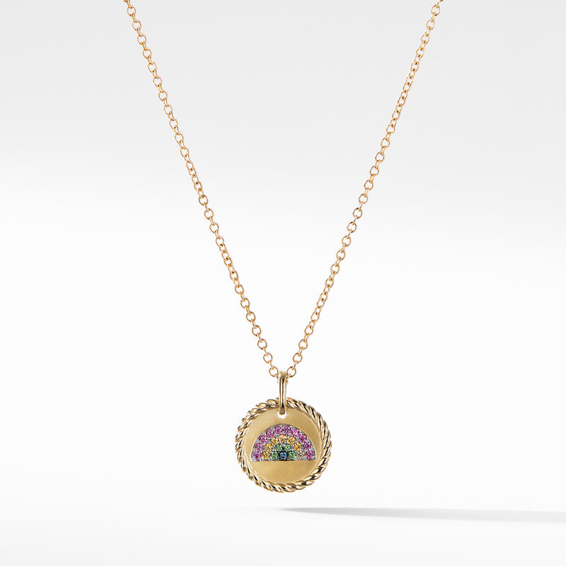 Cable Collectibles Rainbow Necklace with Pink Sapphires, Yellow Sapphires, and Tsavorite in 18K Gold