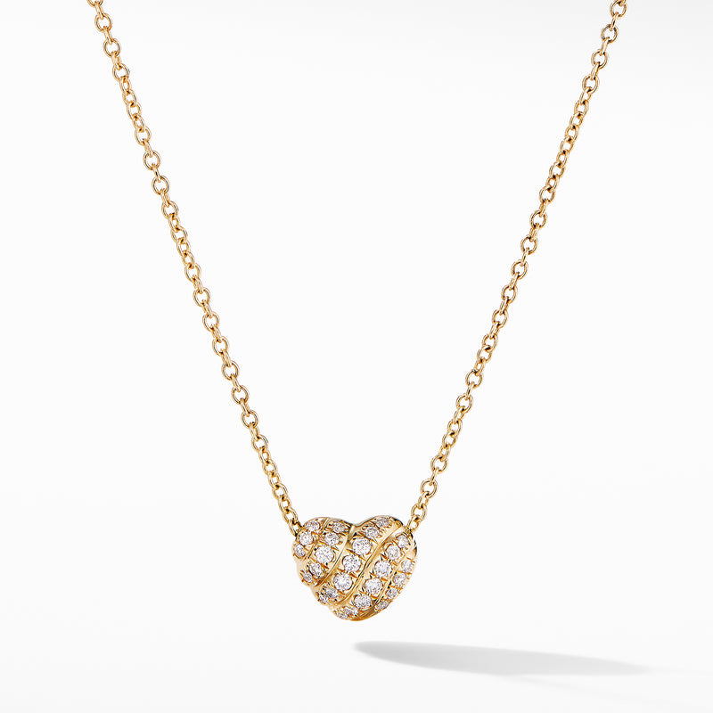 Heart Pendant Necklace in 18K Yellow Gold with Pave Diamonds