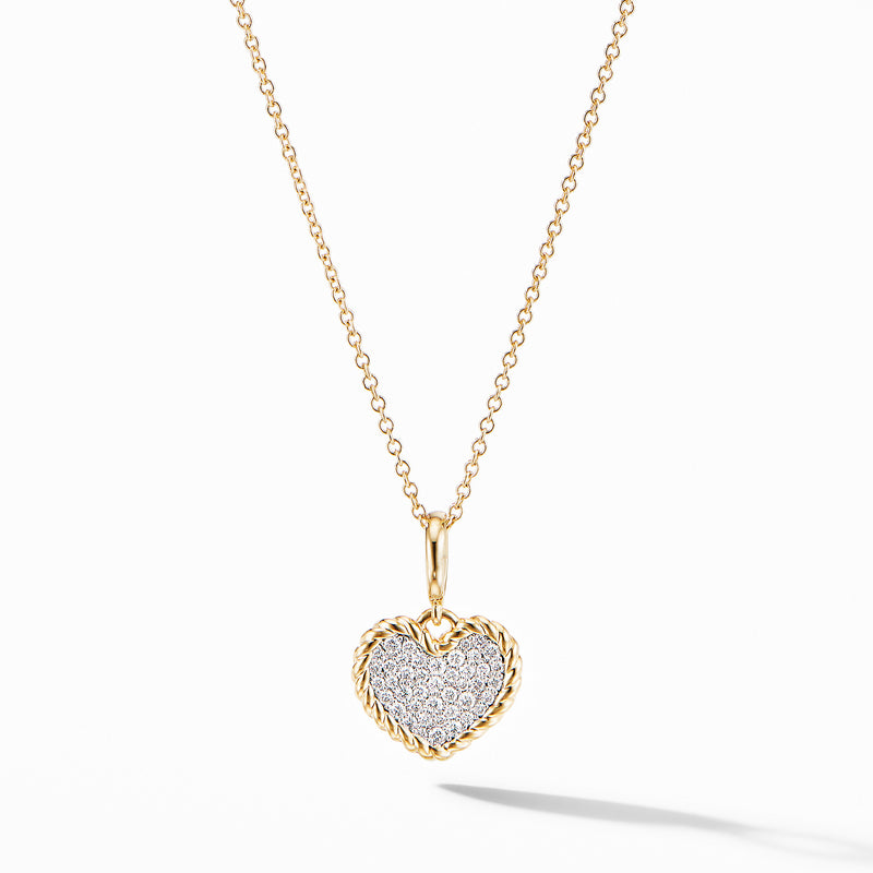 Cable Collectibles Pave Heart Charm Necklace in 18K Yellow Gold