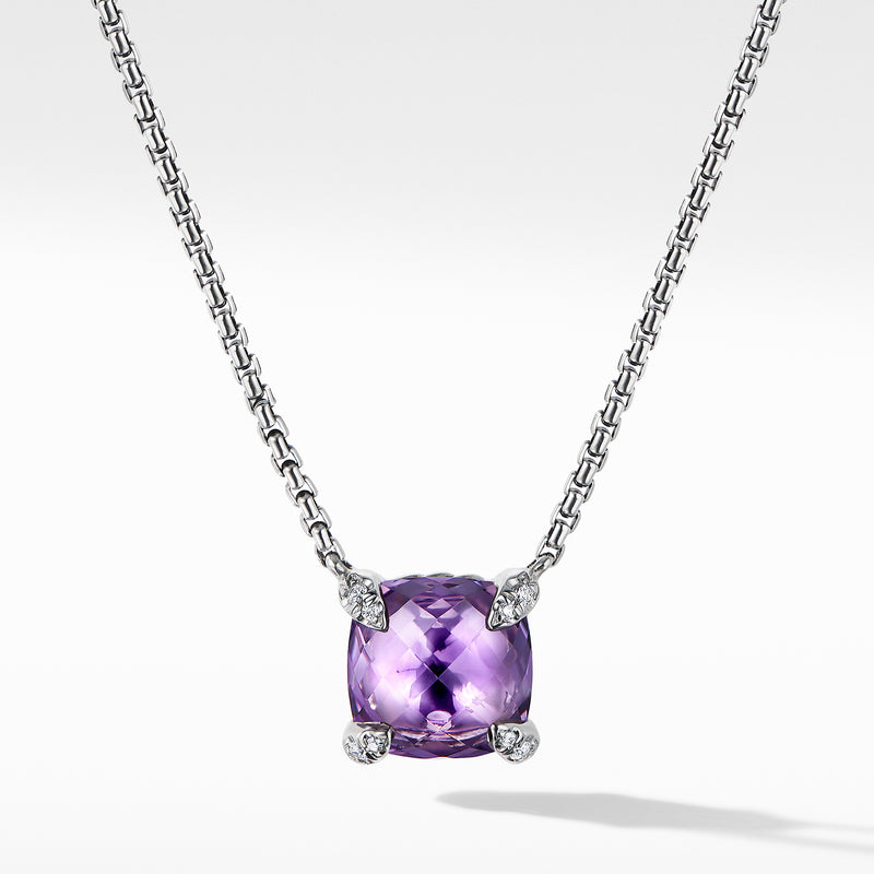 Chatelaine Pendant Necklace with Amethyst and Diamonds 8mm