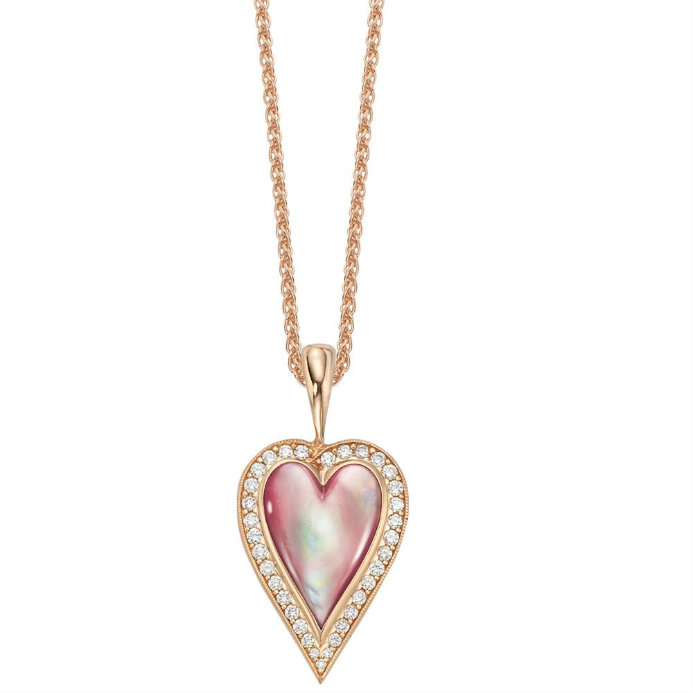 Kabana Pink Mother of Pearl Heart Rose Gold Diamond Pendant NPCF141MP
