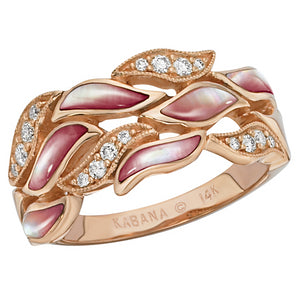 Kabana Pink Mother of Pearl Rose Gold Diamond Ring NRIF308MP
