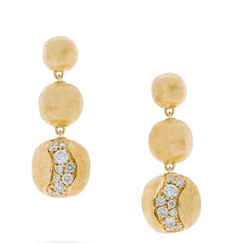 Marco Bicego 18K Africa Graduated Drop Diamond Earrings
