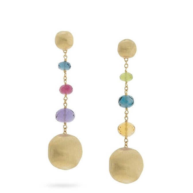 Marco Bicego 18K Yellow Gold Africa Drop Earrings with Deep Multi-Colored Stones  OB1625 MIX02 Y