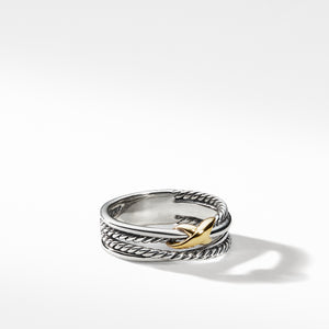 Crossover X Ring with Gold 6MM