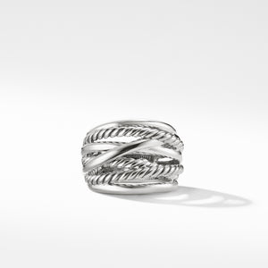 Crossover Wide Silver Ring