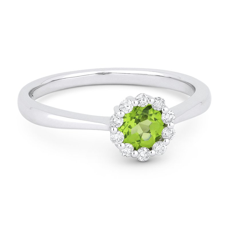 Madison L. Round Peridot & Diamond Halo 14K White Gold Ring