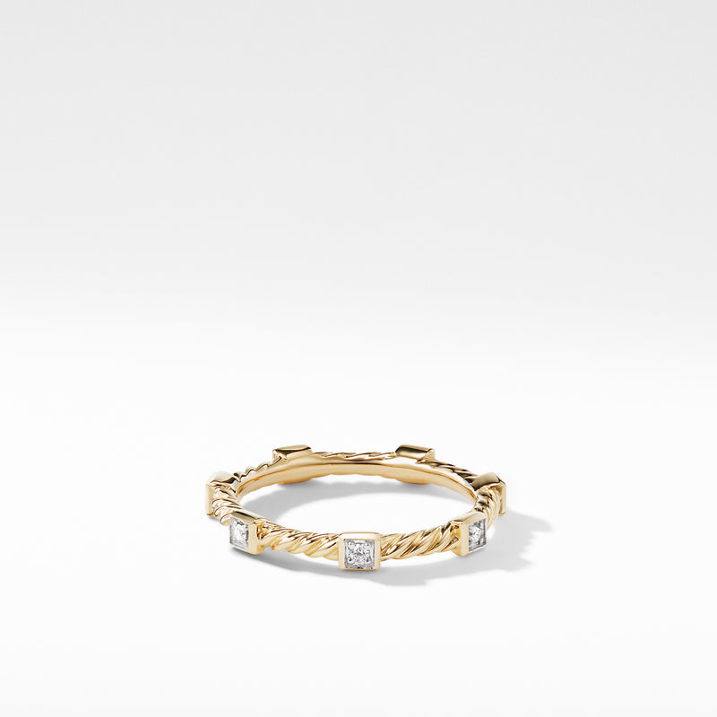 Cable Collectibles Ring with Diamonds in 18K Gold