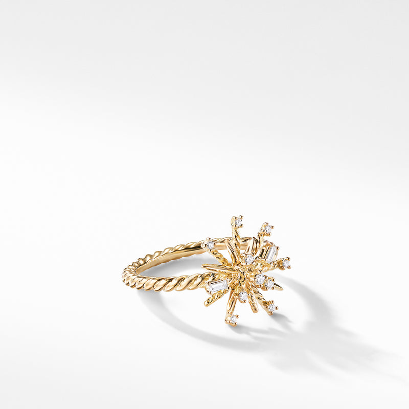 Supernova Ring with Diamonds in 18K Gold, 14mm