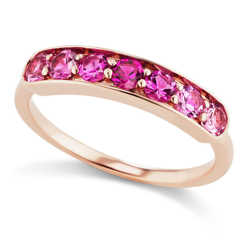 Jane Taylor Cirque One-of-a-Kind Large Half Eternity Band with Pink Spinel Ombré