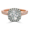 Point of Love Square Cushion Forevermark 1 Carat Diamond Halo Engagement Ring Rose Gold