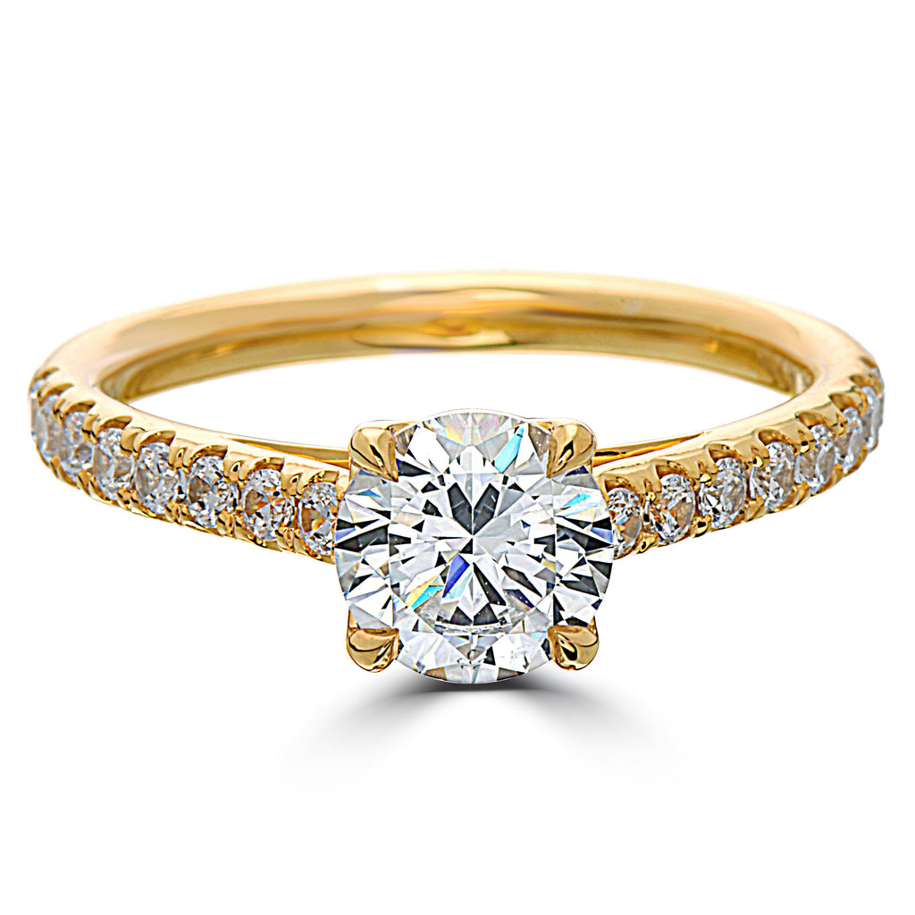 Point of Love Round Brilliant 1 Carat Diamond Shank 18K Yellow Gold Engagement Ring