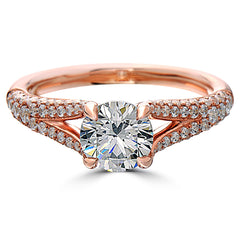 Point of Love Round Brilliant 1 Carat Diamond Split Shank 18K Rose Gold Engagement Ring