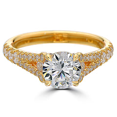 Point of Love Round Brilliant 1.5 Carat Diamond Split Shank 18K Yellow Gold Engagement Ring
