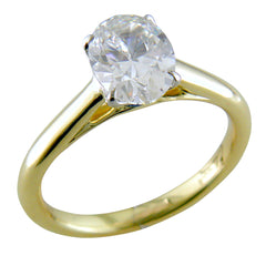 Point of Love Oval Brilliant 1.25 Carat Diamond 18K Yellow Gold Engagement Ring with Sapphire