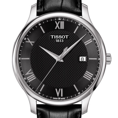 Tissot Mens 42MM Tradition Black Dial/Leather Strap Quartz Watch T0636101605800