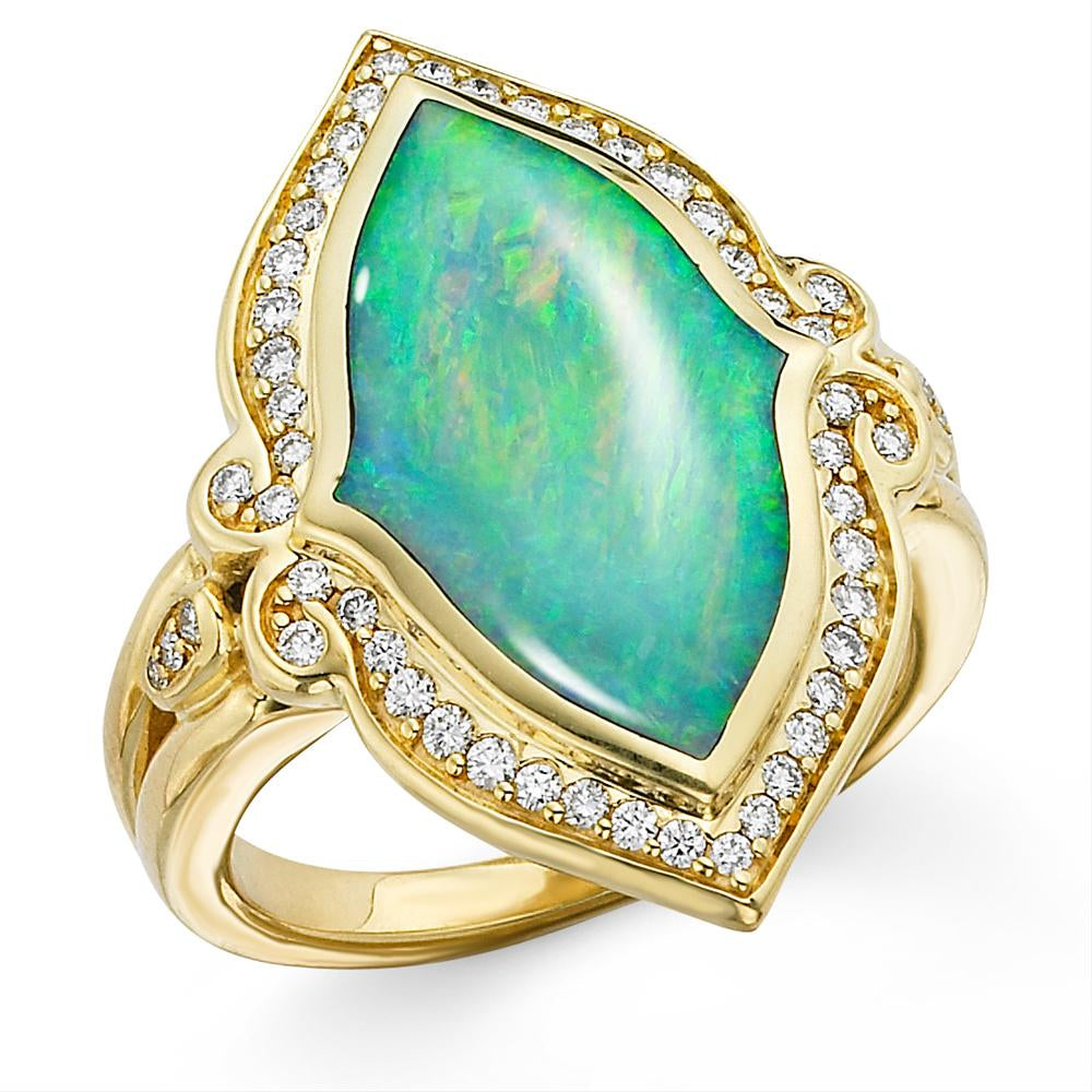 Kabana Opal & Diamond Yellow Gold Ring XGRIF545D4XX