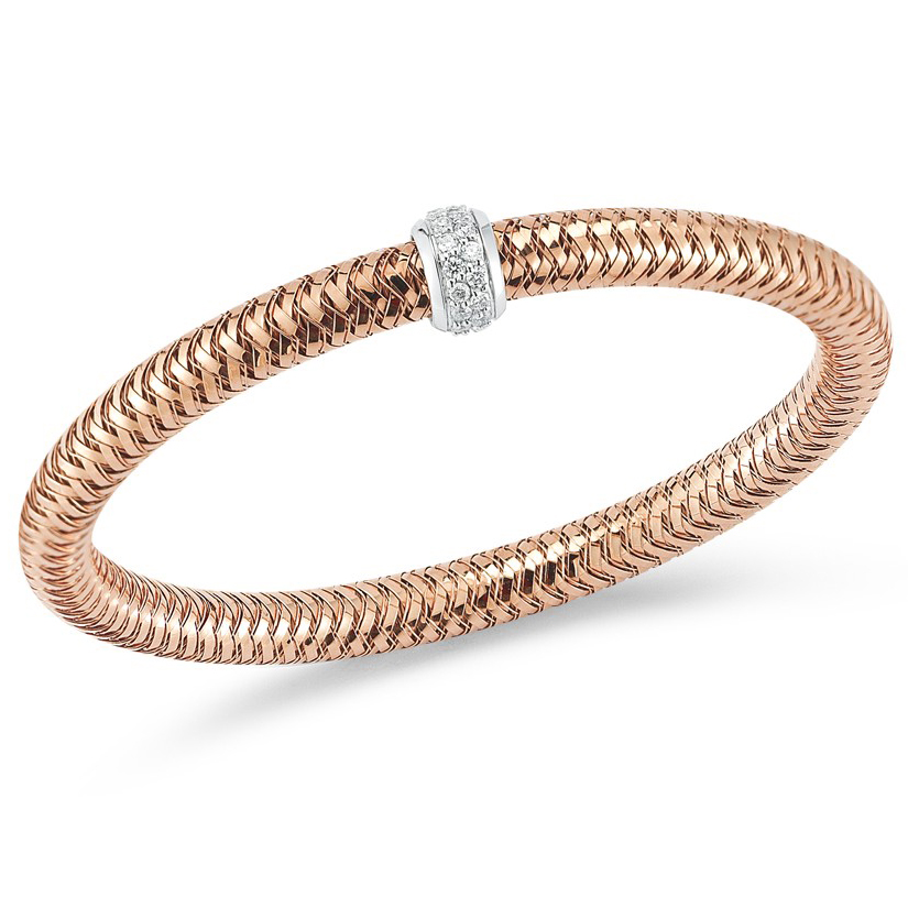 Roberto Coin Primavera 18K Rose Gold Stretch Bracelet with Diamonds