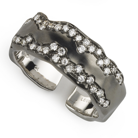 Antonini Vague Istanbul Blackened 18K White Gold Diamond Ring