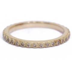 Armenta Champagne Diamond Yellow Gold Stackable Band Ring 18K Yellow Gold