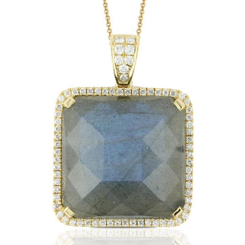 Doves Labradorite & Diamond Square Yellow Gold Pendant Necklace