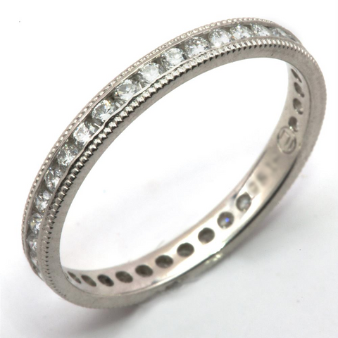 Diamond Channel Set Eternity Band Anniversary Ring with Milgrain Edges 18K White Gold