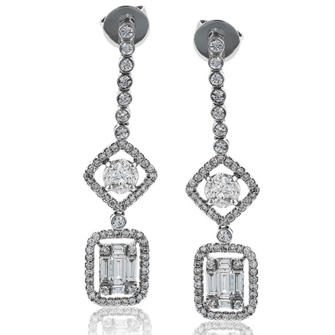 Simon G. Diamond Baguette Dangle Drop Earrings LP4297