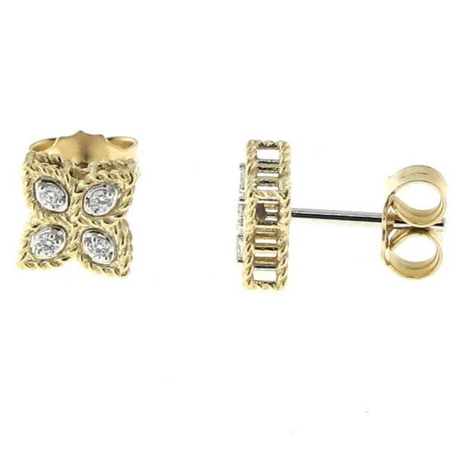 Roberto Coin Princess Flower Diamond Small Stud Earrings 18K Yellow Gold