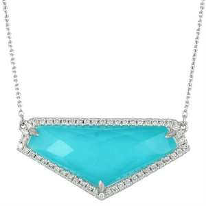 "Doves ""St. Barth's Blue"" Triangle Turquoise & White Topaz Pendant Necklace with Diamonds"