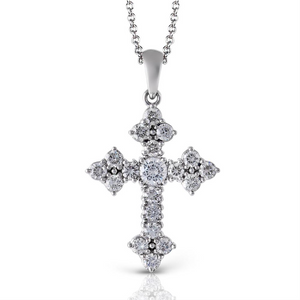 Simon G. Divine Gothic Diamond Cross Pendant Necklace 1/2 Carat PP115