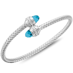 Charles Garnier Sterling Silver 4mm Sarah Mesh Bypass Cuff Bracelet With Blue Topaz