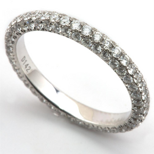 French Pave Diamond Eternity Band Anniversary Ring 1.42 Carats 18K