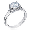 Belle Care Round Diamond Pave Platinum Engagement Ring