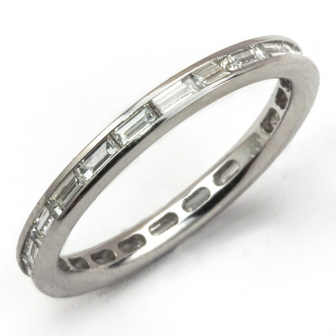 Baguette Diamond Eternity Wedding Band Anniversary Stackable 18K Ring
