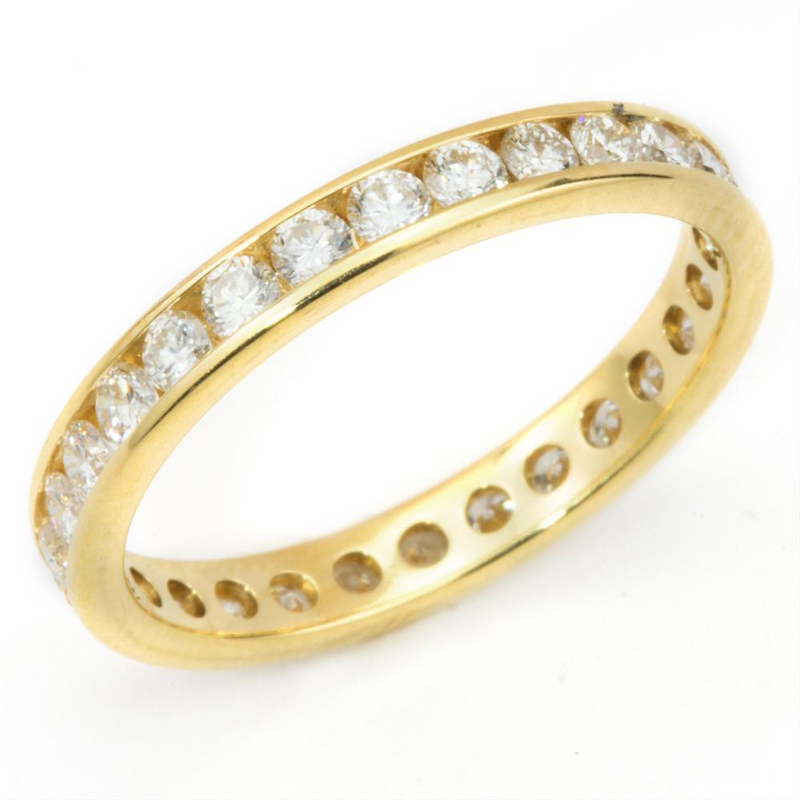 Round Diamond Eternity Band Ring 18K Yellow Gold 1.10 Carats