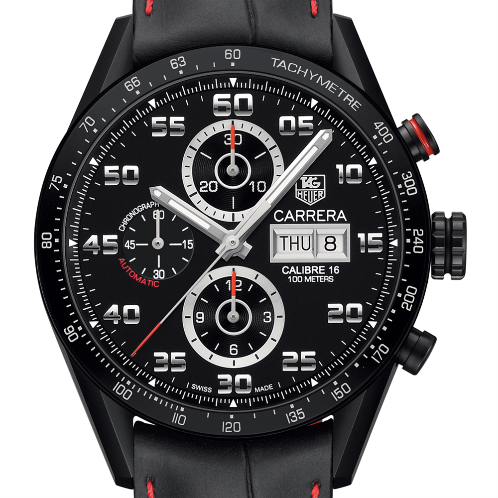 TAG Heuer CARRERA 100M Calibre 16 Day-Date Automatic Chronograph Black Titanium Watch 43MM CV2A81.FC6237