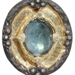 Armenta Old World Midnight Shield Pendant Enhancer with Labradorite & Diamonds