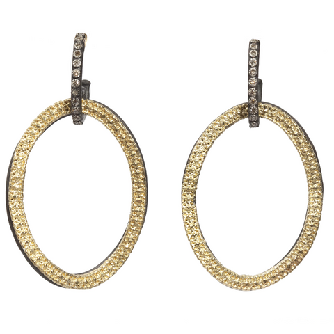 Armenta Open Oval Circle Link Drop Champagne Diamond Earrings Silver & Gold