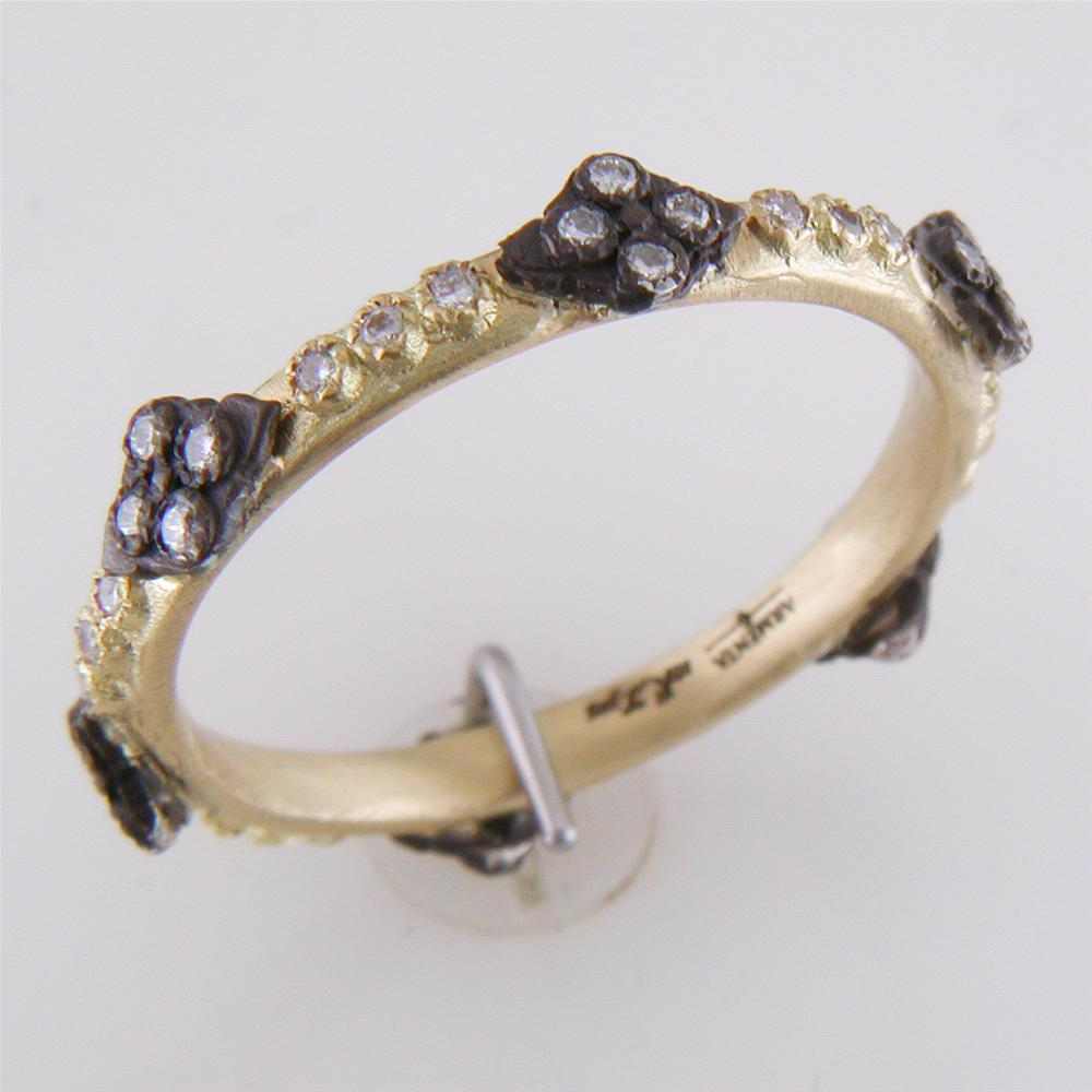 Armenta Crivelli Diamond Stackable Ring Band Yellow Gold & Blackened Silver