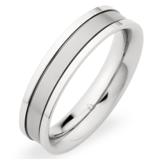 Christian Bauer Men's 5.5mm White Gold Brushed Wedding Ring Band