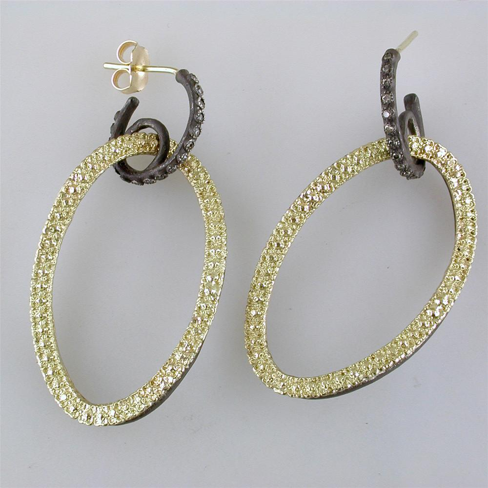 7662fafe8be60 Armenta Open Oval Circle Link Drop Champagne Diamond Earrings Silver   Gold