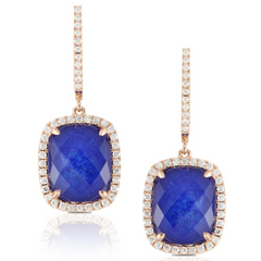 "Doves Blue ""Royal Lapis"" & Diamond Cushion Dangle Earrings Rose Gold"