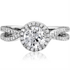 Round Diamond Halo Ribbon Engagement Ring 14K 1 Carat