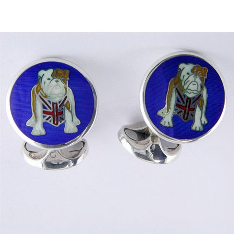 Deakin & Francis British Bulldog Union Jack Flag Sterling Silver Cufflinks