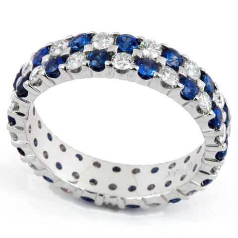 Diamond & Sapphire Double Row Alternating Eternity Wedding Band Ring 18K