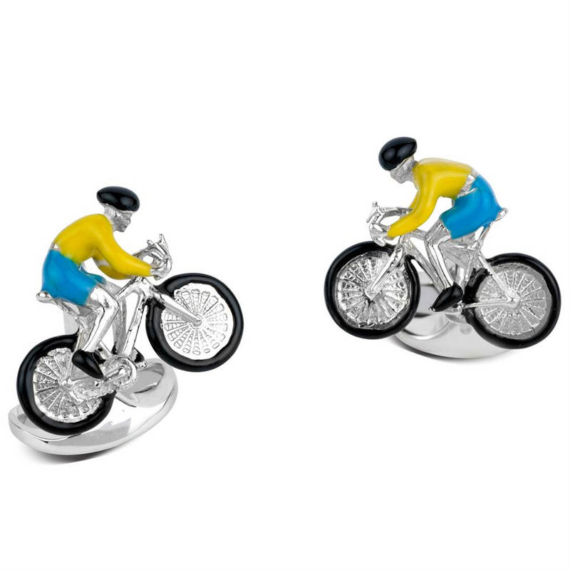 Deakin & Francis Racing Bike & Rider Bicycle Yellow & Blue Enamel Silver Cufflinks