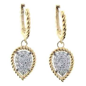 Roberto Coin New Barocco Dangle Drop Marquise Earrings White & Yellow Gold