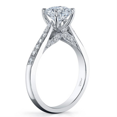 Round Diamond 18K White Gold 1.00 Carat Engagement Ring