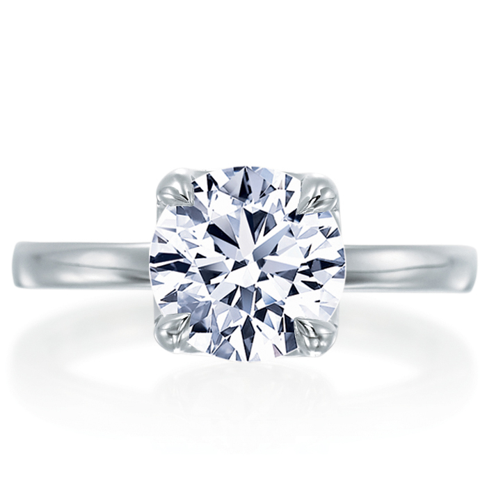 Mirabeau Round Diamond Plain Platinum Engagement Ring