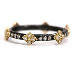 Armenta Old World Cravelli Stackable Band Diamond Ring Oxidized Sterling & 18K R2153